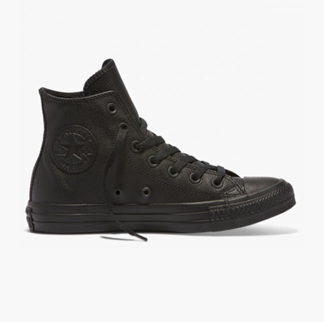 Converse Chuck Taylor All Star Classic Black Mono Leather Hi Top 135251