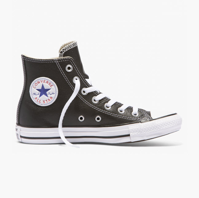 Converse Chuck Taylor All Star Classic Black/White Leather Hi Top 132170C