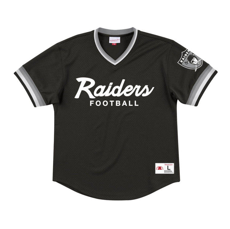 Mitchell & Ness Men's Special Script Mesh V-Neck Oakland Raiders