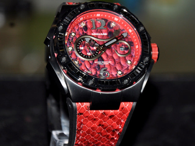 Nsquare Snake/ Red with Black crystals