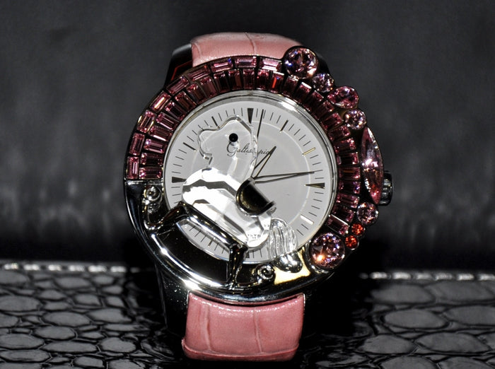 Galtiscopio La Giostra I/ Pink crystal on Pink leather strap