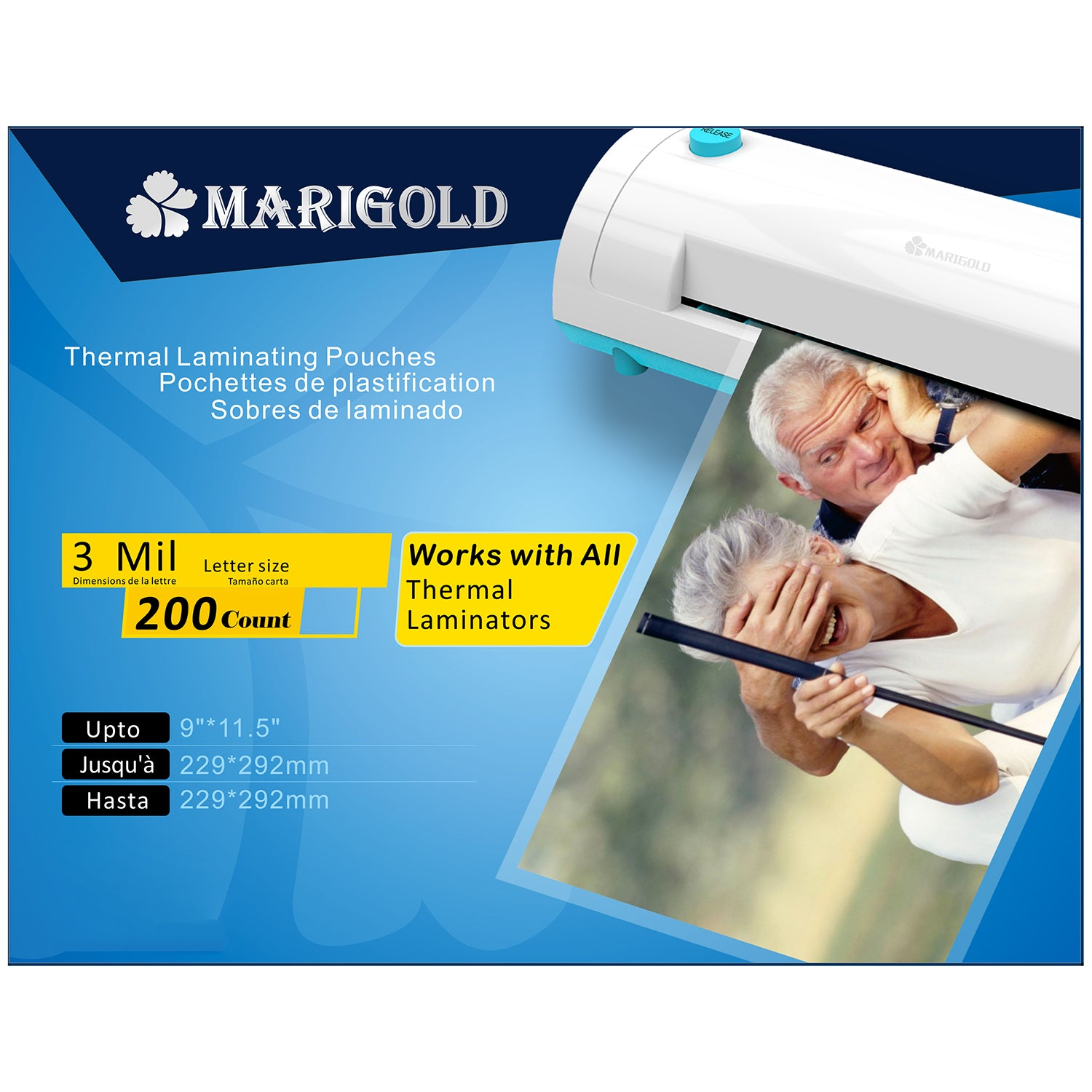 MARIGOLD 200-Pack Thermal Laminating Pouches - 3 mil Letter Size, 9