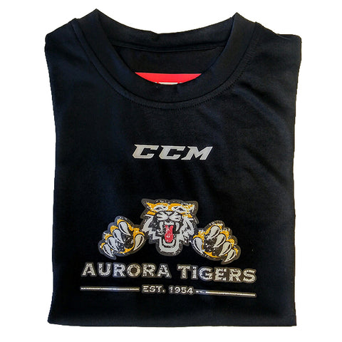 CCM Short Sleeve Training Tech Top - Aurora Tigers ADULT