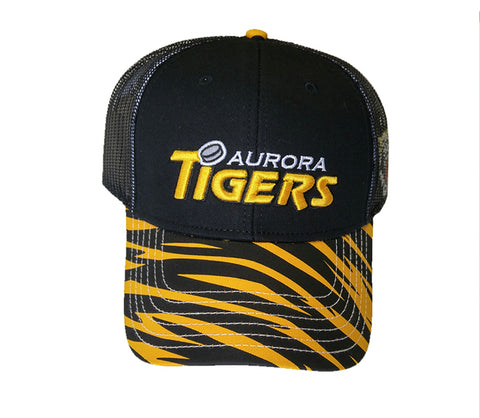 Custom Black Adjustable Velcro Back Cap - Aurora Tigers