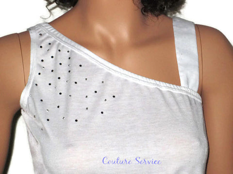 Handmade, White, One Strap, Rhinestone, Summer Tank Top - Couture Service  - 1