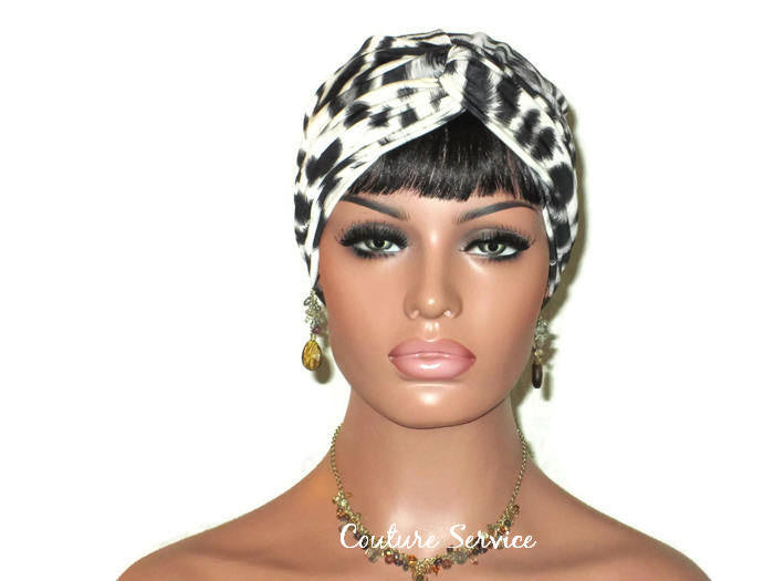 Handmade Grey Twist Turban, Animal Print, Smoked Grey - Couture Service  - 1
