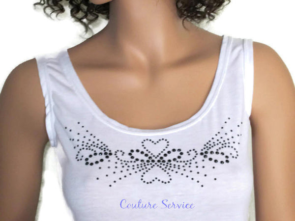 Handmade White, Open Back, Rhinestone, Summer Tank Top - Couture Service  - 1