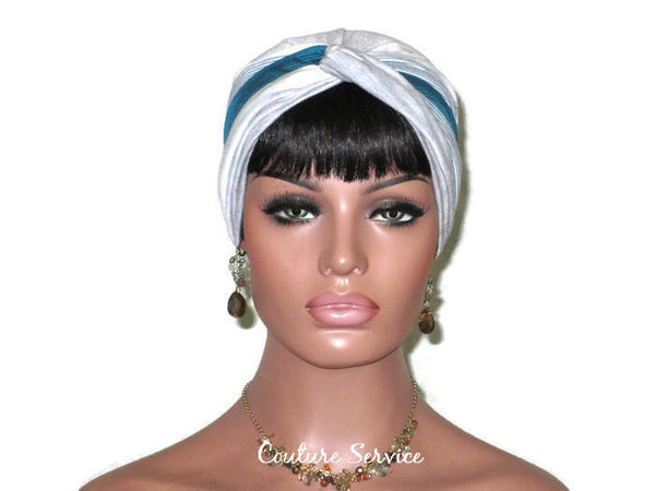 Handmade Striped Rayon Green Twist Turban, Grey Heather - Couture Service  - 2