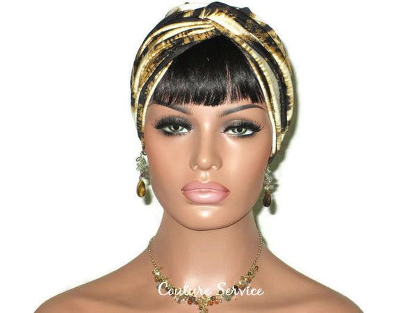 Handmade Gold Twist Turban, Black, Zebra Animal Print - Couture Service  - 2