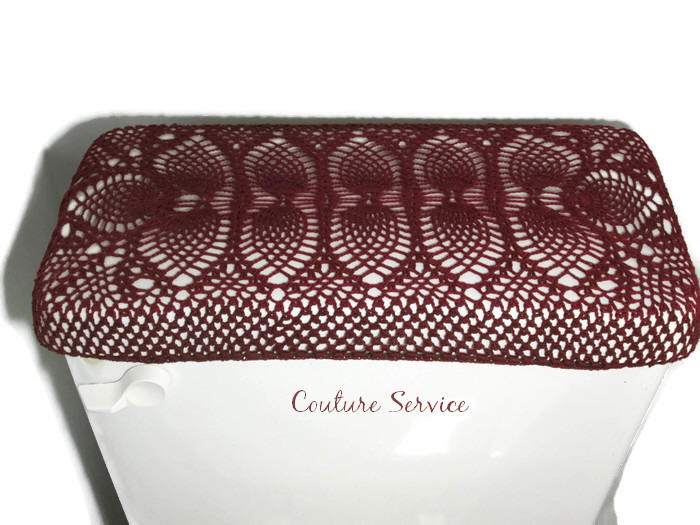 Handmade Crocheted Toilet Tank & Lid Cover, Burgundy