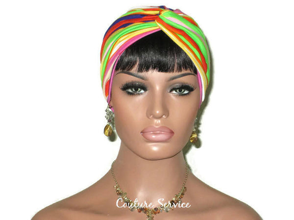 Handmade Striped Rayon Purple Twist Turban, Orange - Couture Service  - 2