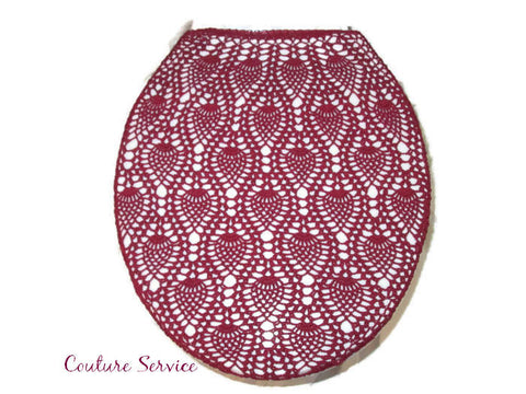 Handmade Crocheted Toilet Tank and Lid Cover, Burgundy