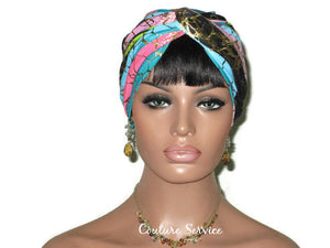 Handmade Metallic Gold Twist Turban, Pink Stripe - Couture Service  - 2