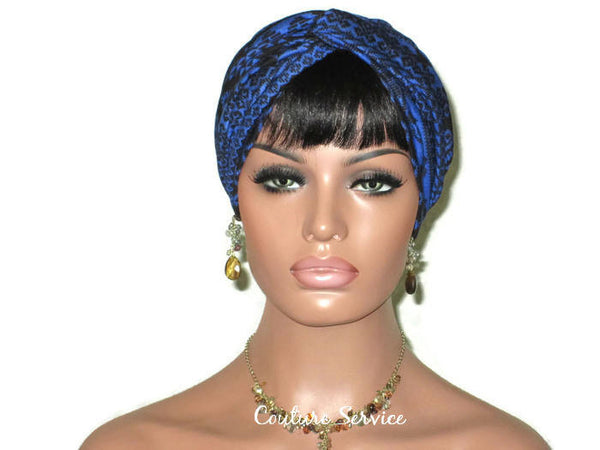 Handmade Blue Royal, Rayon Twist Turban, Black, Tribal Stripe - Couture Service  - 2