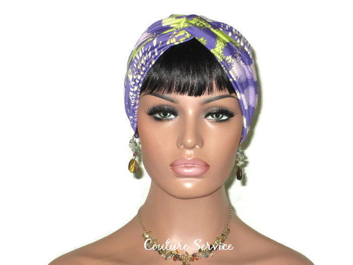 Handmade Lavender Twist Turban, Animal Print, Lime - Couture Service  - 1