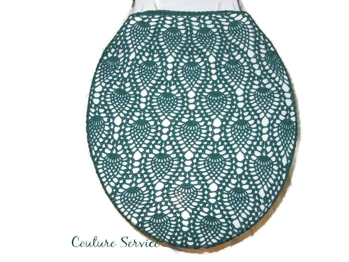 Handmade Crocheted Toilet Tank and Lid Cover, Forest Green
