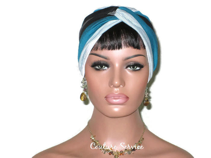 Handmade Striped Rayon Green Twist Turban, White and Black - Couture Service  - 2
