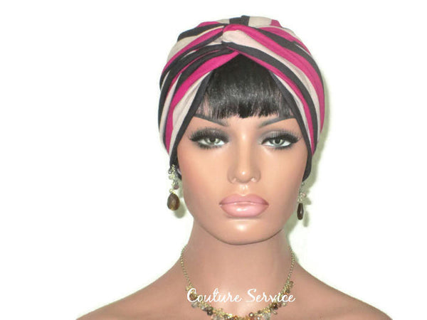 Handmade Striped Rayon Magenta Twist Turban, Taupe - Couture Service  - 2