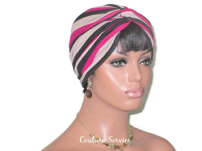 Handmade Striped Rayon Magenta Twist Turban, Taupe - Couture Service  - 3