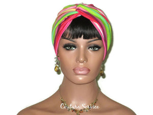 Handmade Striped Rayon Magenta Twist Turban, Pink - Couture Service  - 2