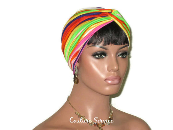Handmade Striped Rayon Purple Twist Turban, Orange - Couture Service  - 3
