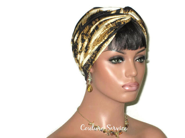Handmade Gold Twist Turban, Black, Zebra Animal Print - Couture Service  - 3