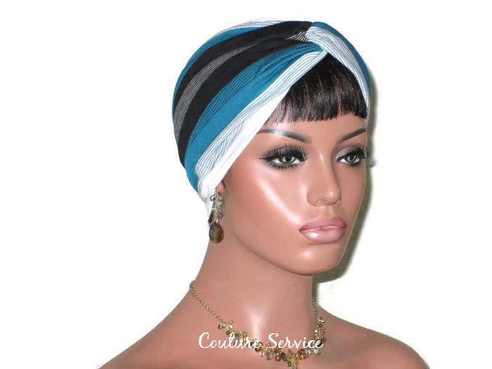 Handmade Striped Rayon Green Twist Turban, White and Black - Couture Service  - 3
