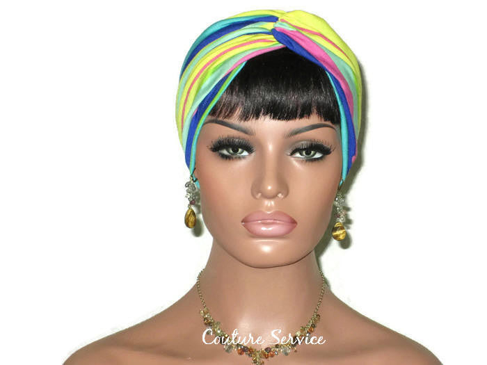 Handmade Striped Rayon Aqua Twist Turban, Yellow, - Couture Service  - 1