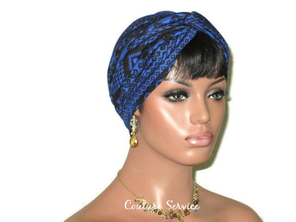 Handmade Blue Royal, Rayon Twist Turban, Black, Tribal Stripe - Couture Service  - 3