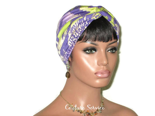 Handmade Lavender Twist Turban, Animal Print, Lime - Couture Service  - 2