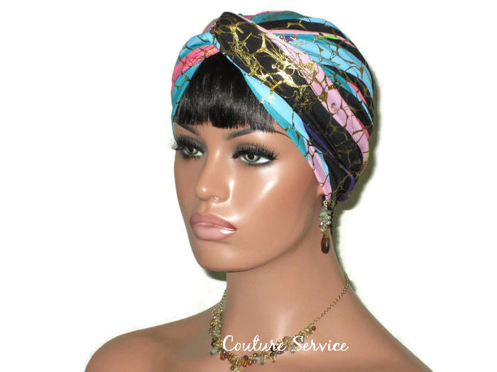 Handmade Metallic Gold Twist Turban, Pink Stripe - Couture Service  - 1