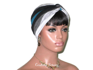 Handmade Striped Rayon Green Twist Turban, Grey Heather and Black - Couture Service  - 3