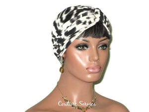 Handmade Grey Twist Turban, Animal Print, Smoked Grey - Couture Service  - 2