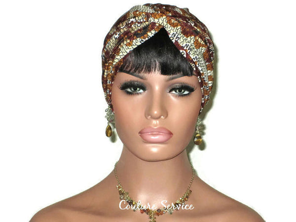 Handmade Brown Twist Turban, Aztec, Cream - Couture Service  - 2