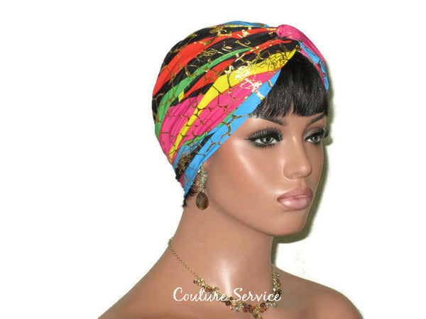 Handmade Metallic Gold Twist Turban, Rainbow Stripe - Couture Service  - 2