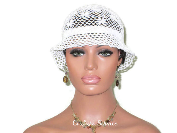 Handmade Crocheted Lace Brimmed Hat, White