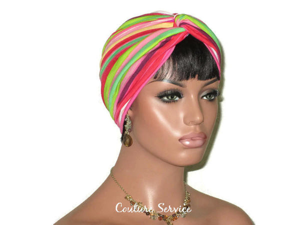 Handmade Striped Rayon Magenta Twist Turban, Pink - Couture Service  - 1