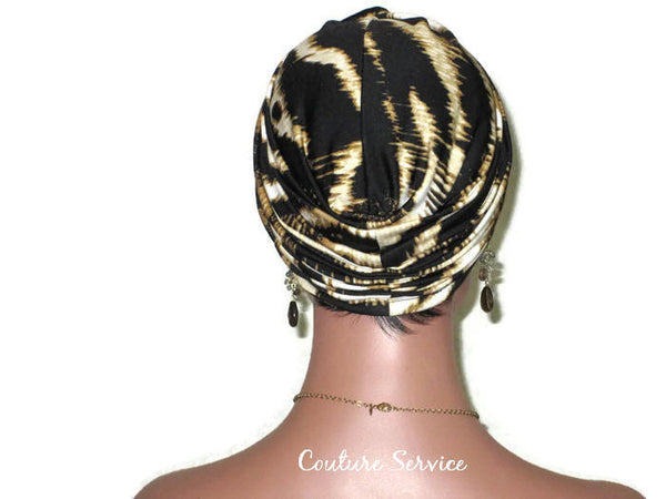 Handmade Gold Twist Turban, Black, Zebra Animal Print - Couture Service  - 4