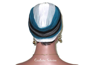 Handmade Striped Rayon Green Twist Turban, White and Black - Couture Service  - 4