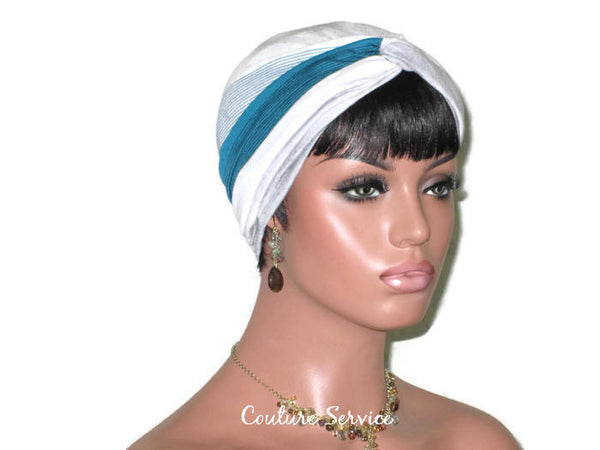 Handmade Striped Rayon Green Twist Turban, Grey Heather - Couture Service  - 3