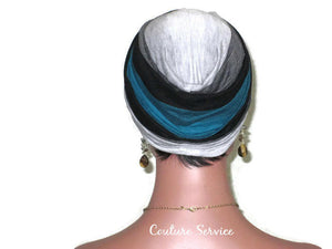 Handmade Striped Rayon Green Twist Turban, Grey Heather and Black - Couture Service  - 4
