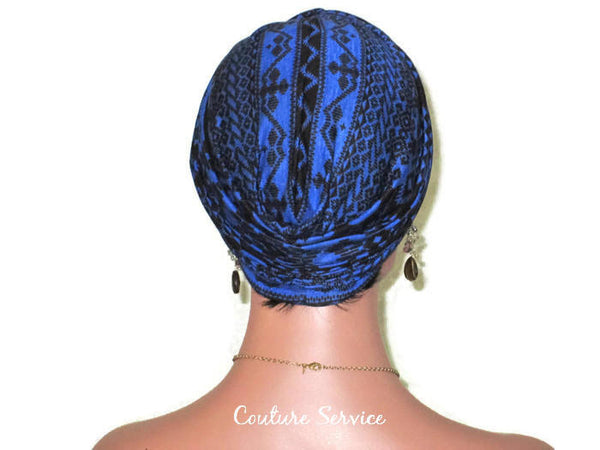 Handmade Blue Royal, Rayon Twist Turban, Black, Tribal Stripe - Couture Service  - 4