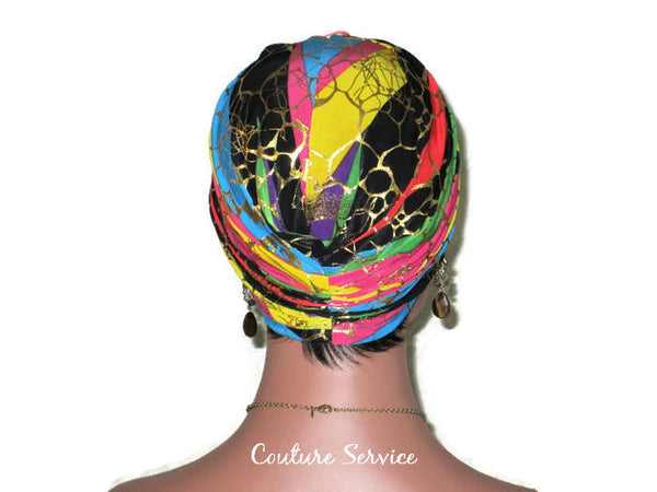 Handmade Metallic Gold Twist Turban, Rainbow Stripe - Couture Service  - 3