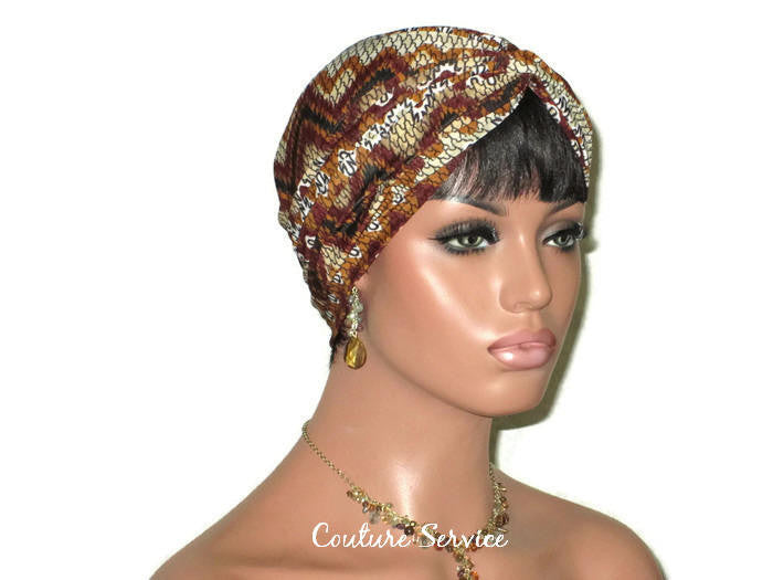Handmade Brown Twist Turban, Aztec, Cream - Couture Service  - 1