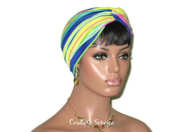 Handmade Striped Rayon Aqua Twist Turban, Yellow, - Couture Service  - 2