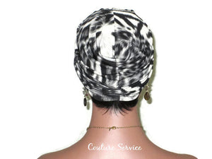 Handmade Grey Twist Turban, Animal Print, Smoked Grey - Couture Service  - 3