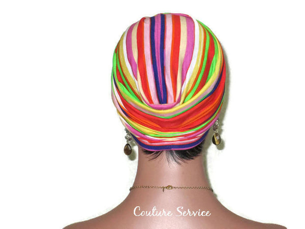 Handmade Striped Rayon Purple Twist Turban, Orange - Couture Service  - 4