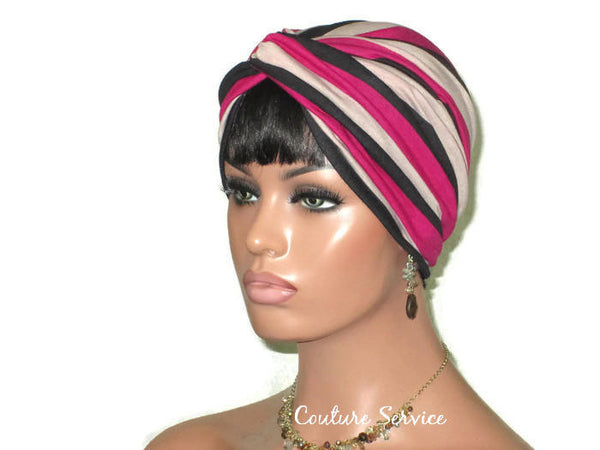 Handmade Striped Rayon Magenta Twist Turban, Taupe - Couture Service  - 1