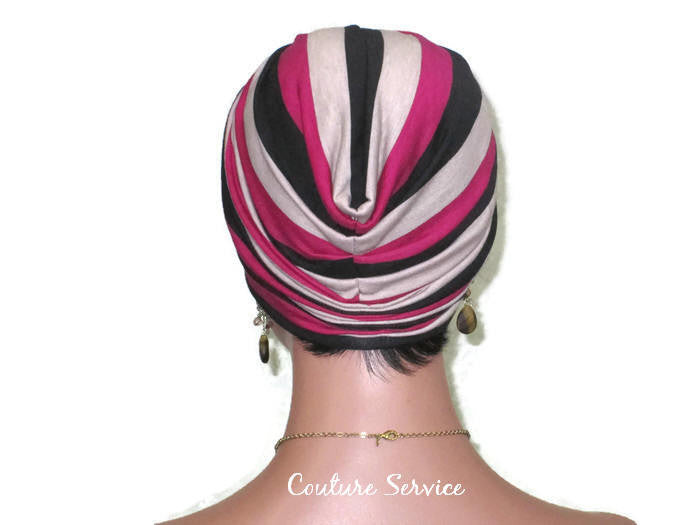 Handmade Striped Rayon Magenta Twist Turban, Taupe - Couture Service  - 4