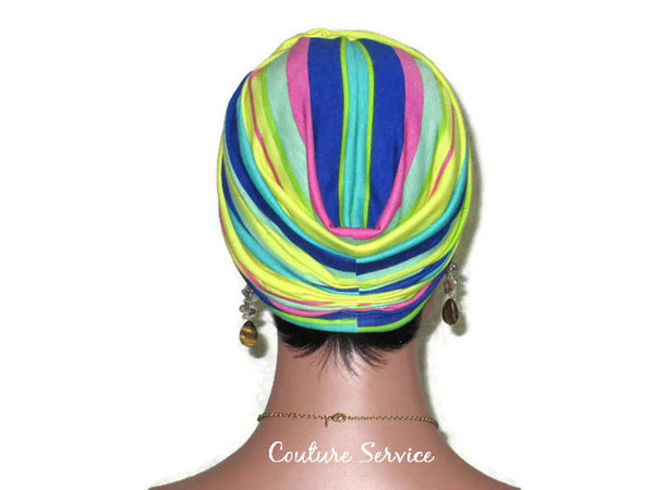 Handmade Striped Rayon Aqua Twist Turban, Yellow, - Couture Service  - 3